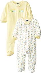 Gerber Unisex-Baby Two-Pack Sleep-N-Play Zip-Front Ducks Jumpsuits