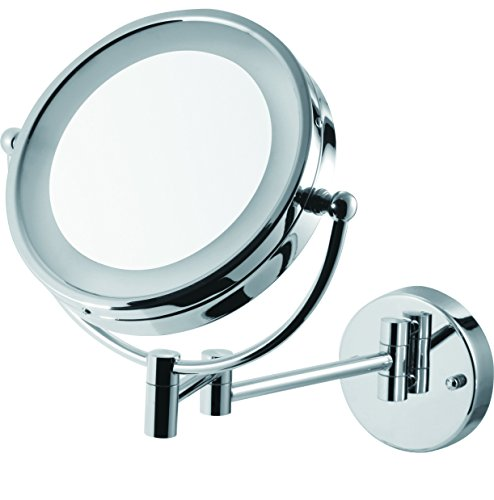 8 5 Wall Mounted Adjustable Battery Powered Lighted Vanity Mirror With 5x Magnification Bathroom