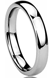 4MM Titanium Comfort Fit Wedding Band Ring High Polished Classy Domed Ring (5 to 11)