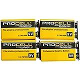 【DURACELL】PROCELL デュラセル プロセル 9V角電池 エフェクター/楽器用アルカリ電池 4個セット DP-9V-4pcs