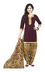 varsha Women's Unstitched Dress Material (Red and Beige)