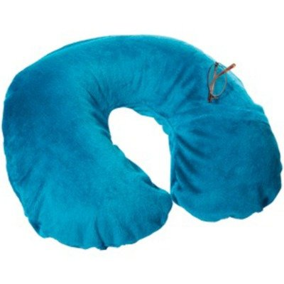 travel-smart-by-conair-ts22teal-inflatable-fleece-neck-rest-neck-pillow-teal