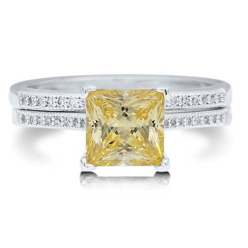 Sterling Silver 925 Princess Cut Canary Cubic Zirconia CZ 2pc Ring Set - Nickel Free Engagement Wedding Ring Set Size 6