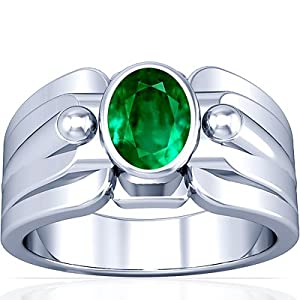 14K White Gold Oval Cut Emerald Mens Ring (GIA Certificate)
