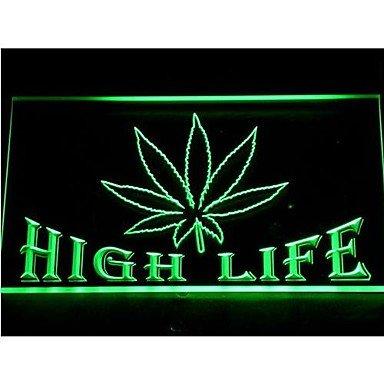 Free the Weed Marijuana High Life LED Light Sign Green