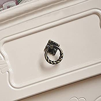 Tinksky Vintage Retro Style Kitchen Cabinet Cupboard Dresser Door Drawer Ring Pull Handles Knobs - Size L-pack of 6 (Antique Brass)