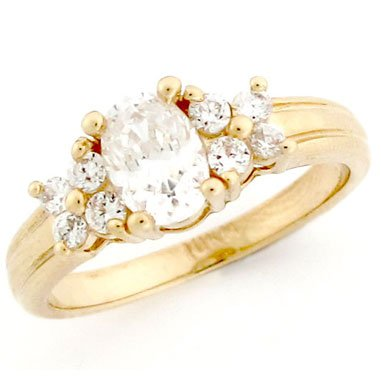 10K Solid Yellow Gold Oval CZ Promise Ring