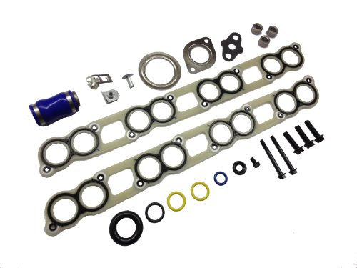 Ford 6.0L intake manifold gasket set with EGR Cooler and Turbo Installation gasket kit for 2003 - 2007 Ford 6.0L Powerstroke diesel F250 F350 F450 F550 Excursion E-Series (Replaces Ford 3C3Z-9433-BJ; 3C3Z-9439-AA; 3C3Z-9T514-AG) (Kit Intake compare prices)