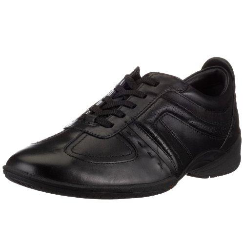 Clarks Flux Spring Black Leather 203390557110, Men's Lace-Up Trainers - Black, 11 UK