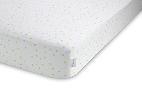 GUND Babygund Starry Night Peachy Crib Sheet, Starry Night - Pistachio, 28'' By 52''