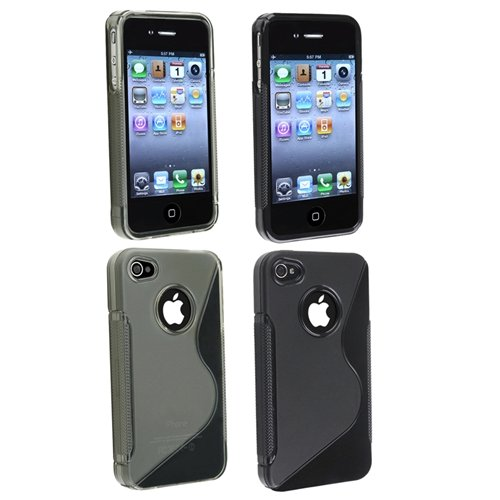 Black + Smoke TPU Hard Case Cover Compatible With Version iPhone® 4 4G iPhone® 4S - AT&T, Sprint, Version 16GB 32GB 64GB
