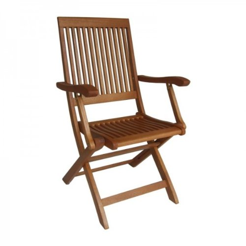 Eleganter Klappstuhl mit Armlehnen 2er Set für den Garten aus hochwertigem Bankirai Hartholz, geölt online kaufen