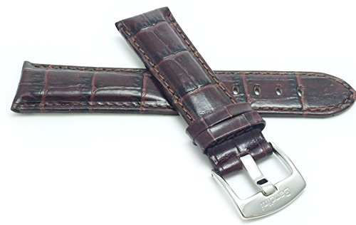 Mens' Alligator Style Genuine Leather Watch Band Strap, Available Band Widths 18mm, 20mm, 22mm, 24mm, 26mm, 28mm, 30mm (All sizes come in XL also), Comes in Black, White, Royal Blue, Brown and Tan (Leather Watch Band For Omega compare prices)