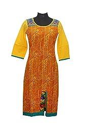 Rahasya Creations Women's Cotton Stitched Kurti (M1__Yellow_Medium)
