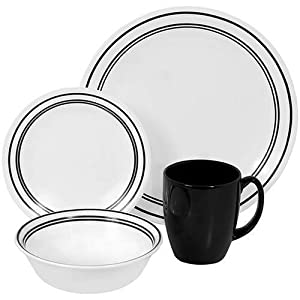 Corelle Livingware 16-Piece Dinnerware Set, Service for 4, Classic Cafe Black by Corelle+Coordinates