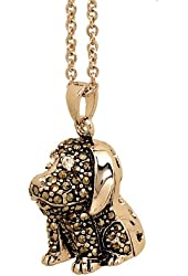 Puppy Dog Pendant with Genuine Marcasite and Chain