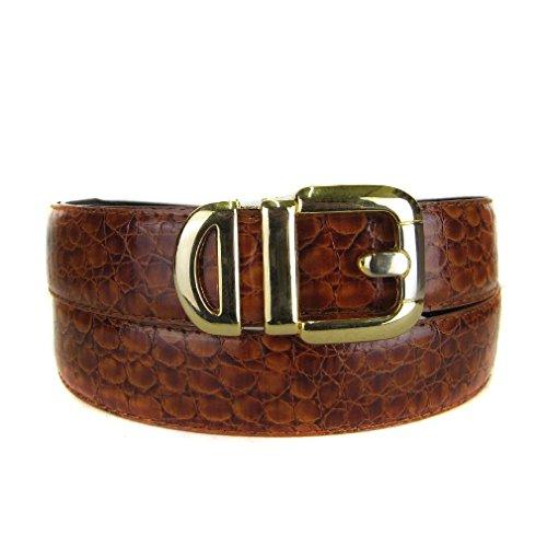 Bltby-Crc-4-20 - Brown - Boys Crocodile Skin Bonded Leather Belt