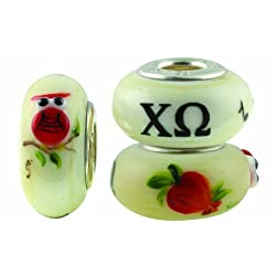 Chi Omega Sorority Hand Painted Fenton Glass Bead