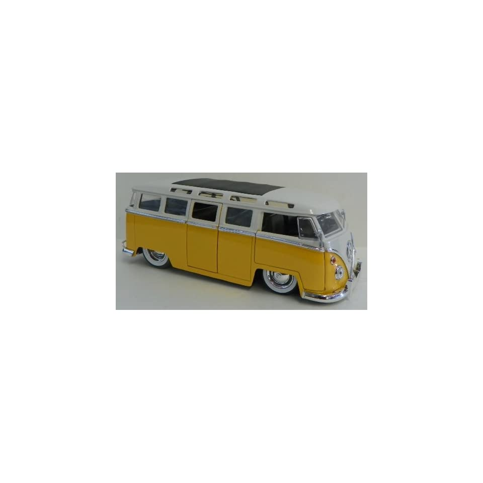Jada Toys 1/24 Scale Diecast Big Time Kustoms 1962 Volkswagen Bus in Color Yellow with White Top with White Walls Tires