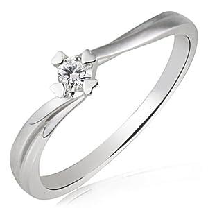Goldmaid Damen-Ring Herz Stotzen Verlobungsring 585 Weißgold 1 Brillant 0,10 ct. Gr. 54 So R4682WG54