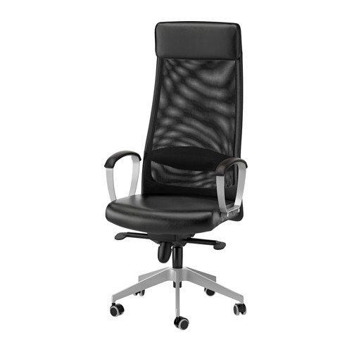 IKEA Markus-Sedia da scrivania sedia girevole per uso intensivo raccomandato-particolarmente robusta e confortevole-come mobili per ufficio, funzione a dondolo e supporto lombare-Pelle bovina-10&