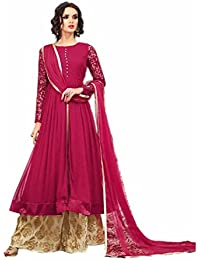 ARYAN FASHION Designer Beautiful Pink Nd Beige Embroidered Long Anarkali Suit Semi-Stitched Suit ( Bottom Unstitched)