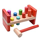 VIAHART Classic Wooden Hammer Pounding Bench with 8 Colorful Pegs for Baby Kids Toddlers   Develops Hand-eye Coordination and Fine Motor Skills