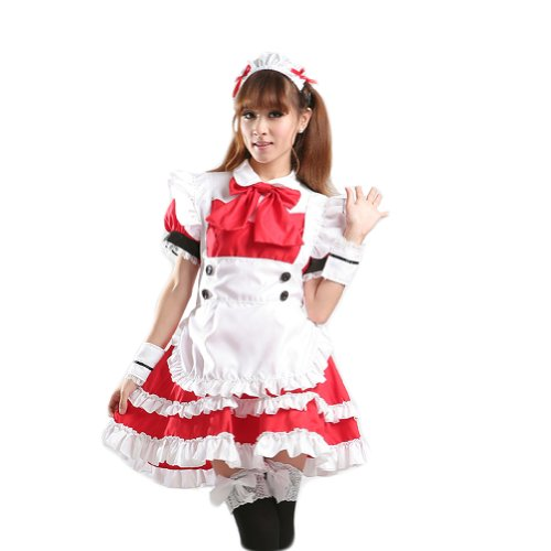 TOMSUIT Lovely Lolita Red French Maid Adult Halloween Costumes