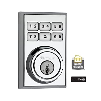 910 Z-Wave Contemporary Single Cylinder Polished Chrome SmartCode Electronic Deadbolt Featuring SmartKey (910 CNT ZW 26 SMT CP)