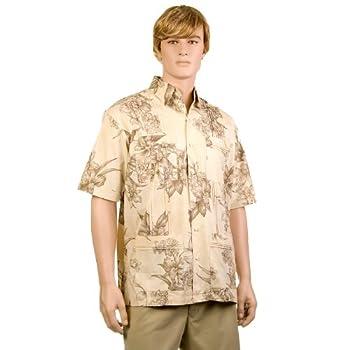 Khaki Hibiscus Hawaiiabera Shirt