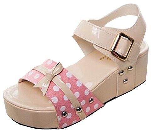 Ace Women's Fashion Polka Dots Open Toe High Wedge Platform Sandal