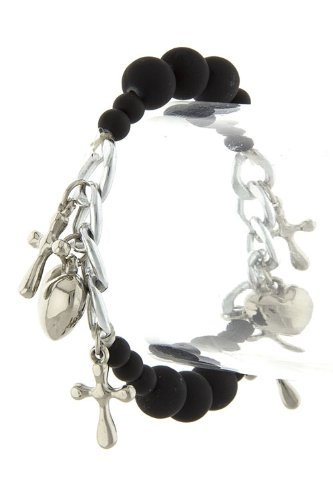 VICTORIA KORS CROSS AND HEART CHARM BEAD BRACELET (Black) at Amazon.com