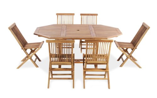 Teak 6 Seat Octagonal Extendable 'Pembroke' Set by Liz Frances