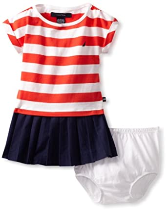 Nautica Baby-girls Infant Stripe Jersey Dress, Bright Red, 24 Months