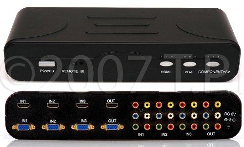 4 Format 3x1 Hdmi Vga Component Composite Rca Audio Video