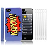 iPhone 4S / iPhone 4 Comic Capers KAPOW Purple/Orange/Yellow Hard Back Cover Case / Shell / Shield + 6-in-1 Screen Protector Pack By Creative 11by Creative Eleven