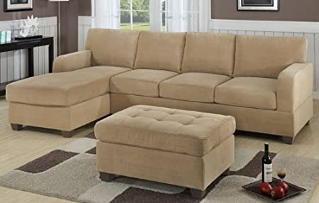 Inland Empire Furniture Lidoine Khaki Waffle Suede 2 Piece Sectional
