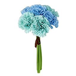 Silk Carnation Bunch Blue for Wedding Home