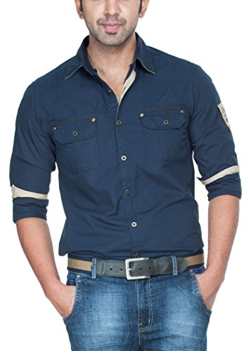 Zovi Cotton Slim Fit Solid Blue Premium Casual Shirt With Applique  Full Sleeves