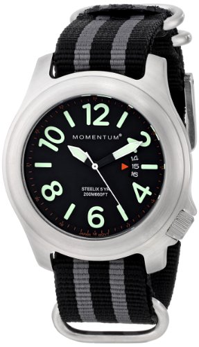 Momentum® 1M-SP74B7S - Reloj analógico de cuarzo para hombre, correa de nailon color gris