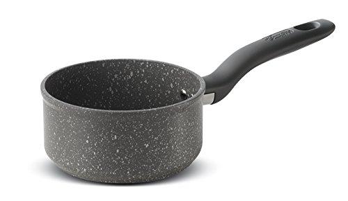 Lagostina Antea Casseruola Fonda con Manico Lungo, Antiaderente, Alluminio, Nero, Diametro 14 cm