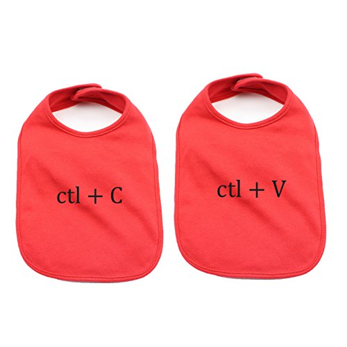 Black Copy/Paste(Ctl) Twin Set Unisex Newborn Baby Soft Cotton Bib in Red