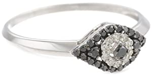 Sterling Silver 0.25 cttw Black and White Diamond Ring, Size 7 by Vaishali Diamond Corporation