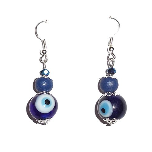Beadworks Beadworks Beaded Earrings - Fashion Drop Evil Eye Beaded Earrings (Silver)