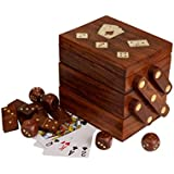 Beautifully Hand Crafted Decorative Wooden Dominoes / Dice Set Box with Brass Inlay & Latch Ideas