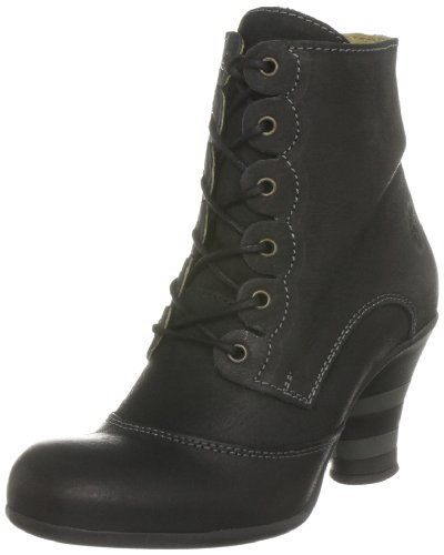 Fly London Women's Pimms Leather Black Lace Ups