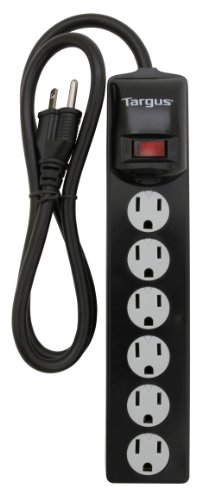 Targus Ta-100 6 Outlet Surge Protector Safety Outlets