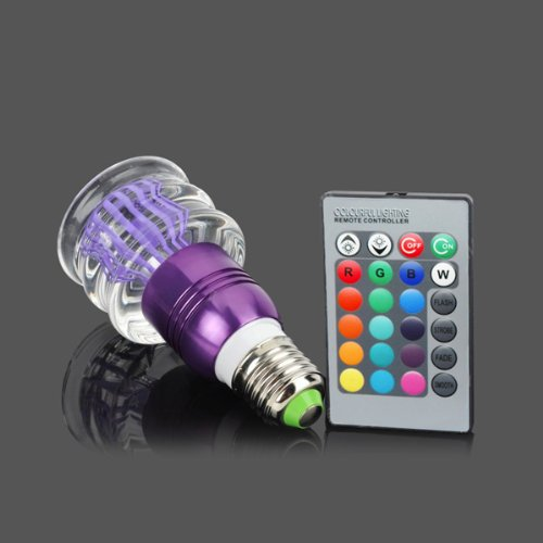 Acrylic Crystal Led Color Changing Light 3W Bulb With Remote E27 Lamp Purple 013