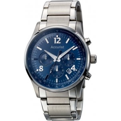 Accurist Gents Blue Dial Chronograph Stainless Steel Watch MB896N