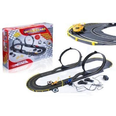 AMG Giant Deluxe Slot Car set Double Loop Electric Slot Car Race Set- 15ft Track Set with 2 Speed Cars - International Lane Set (B)